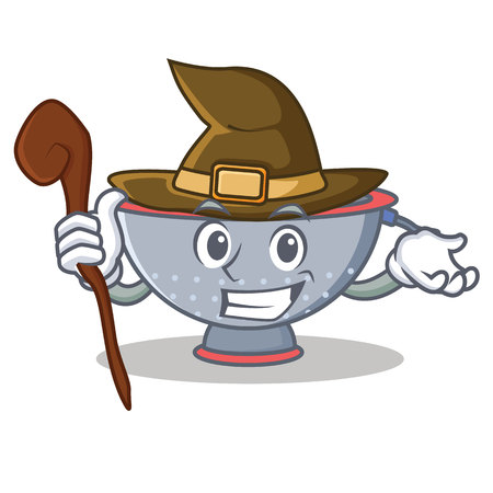 Witch colander utensil character cartoon vector illustration Illustration