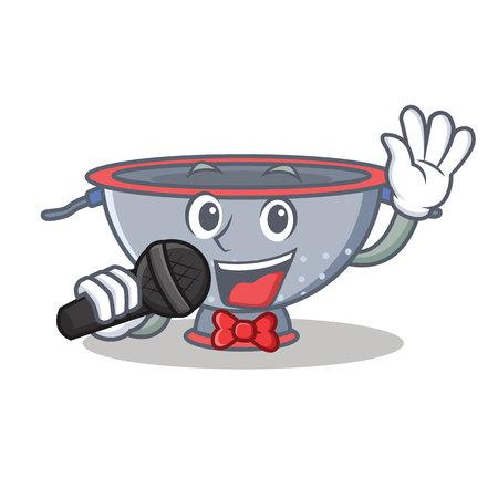 Singing colander utensil character cartoon vector illustration