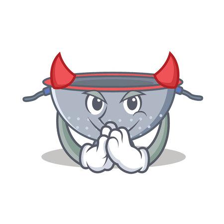 Devil colander utensil character cartoon vector illustration