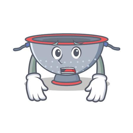 Afraid colander utensil character cartoon vector illustration Vettoriali