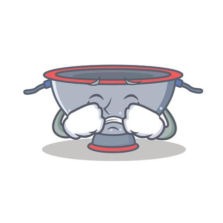 Crying colander utensil character cartoon vector illustration Illustration