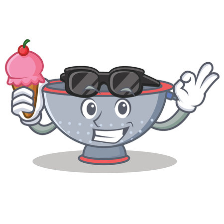 With ice cream colander utensil character cartoon Illustration