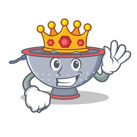 King colander utensil character cartoon vector illustration