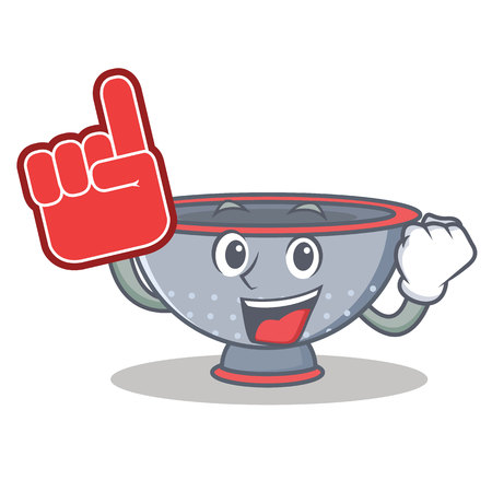 Foam finger colander utensil character cartoon vector illustration