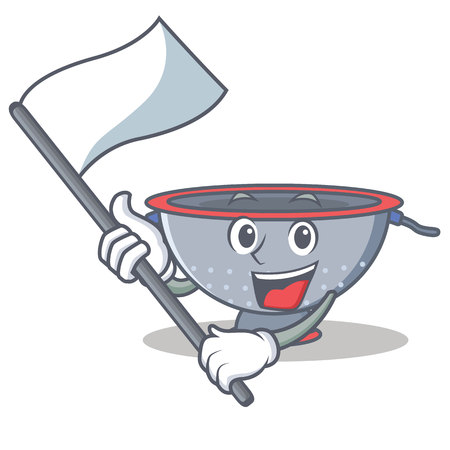 With flag colander utensil character cartoon vector illustration