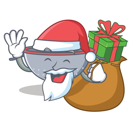 Santa with gift colander utensil character cartoon