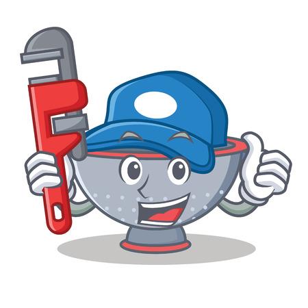 Plumber colander utensil character cartoon