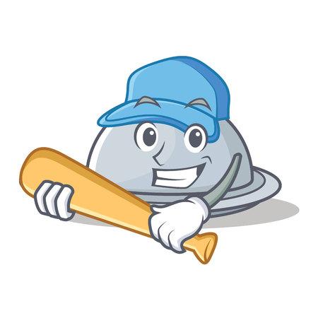 Playing baseball tray character cartoon style