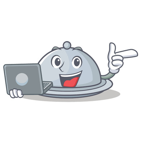 With laptop tray character cartoon style vector illustration
