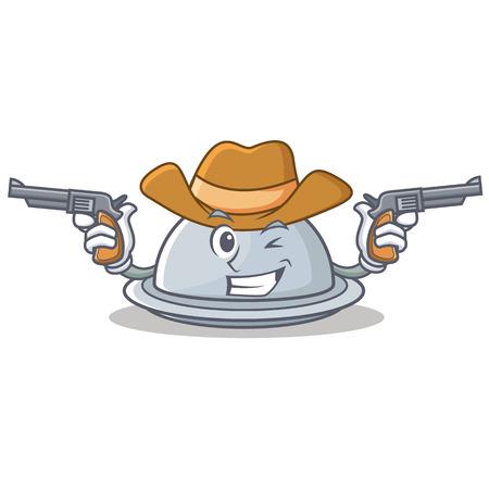 Cowboy tray character cartoon style vector illustration