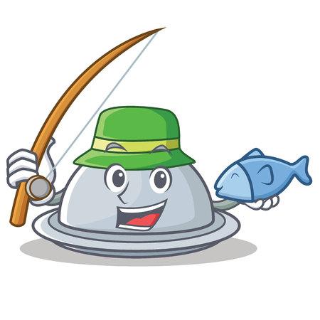Fishing tray character cartoon style vector illustration