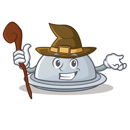 Witch tray character cartoon style vector illustration Illustration