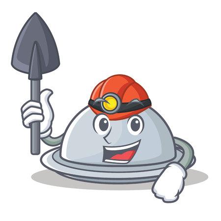 Miner tray character cartoon style, vector illustration. Illustration