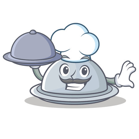 Chef with food tray character cartoon style, vector illustration.