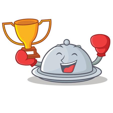 Boxing winner tray character cartoon style