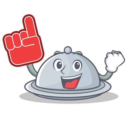 Foam finger tray character cartoon style vector illustration
