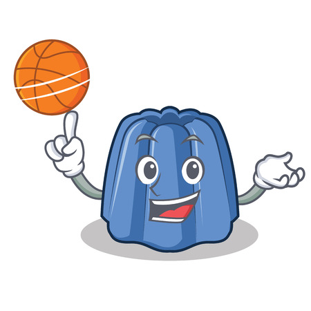 With basketball jelly character cartoon style vector illustration