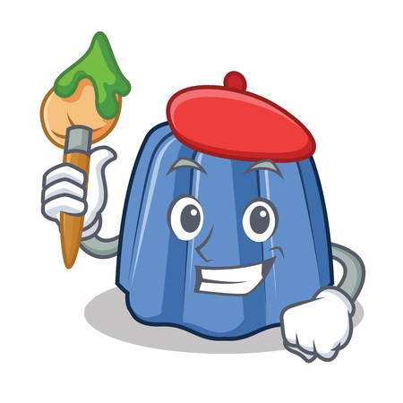 Artist jelly character cartoon style vector illustration