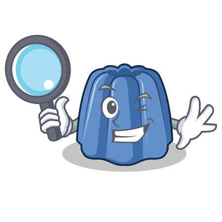 Detective jelly character cartoon style vector illustration