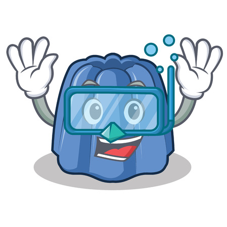 Diving jelly character cartoon style, vector illustration.