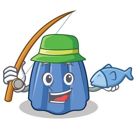 Fishing jelly character cartoon style vector illustration