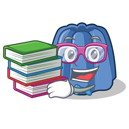 Student with book jelly character cartoon style vector illustration