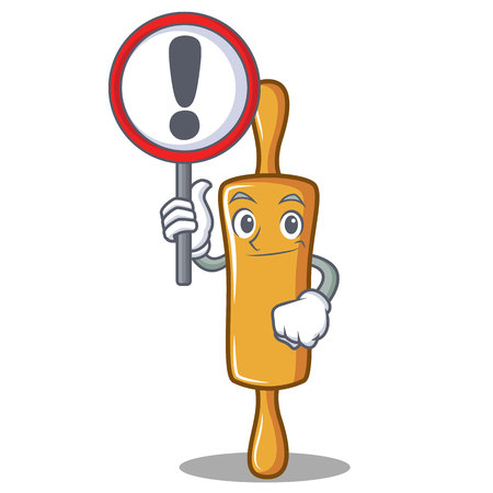 With sign rolling pin character cartoon, vector illustration.