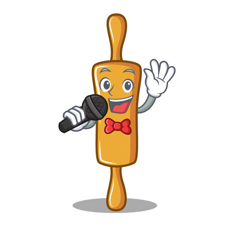 Singing rolling pin character cartoon, vector illustration.
