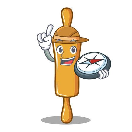 Explorer rolling pin character cartoon vector illustration Illustration