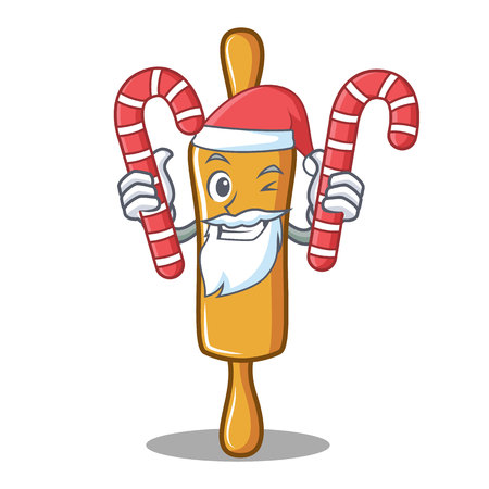 Santa with candy rolling pin character cartoon vector illustration