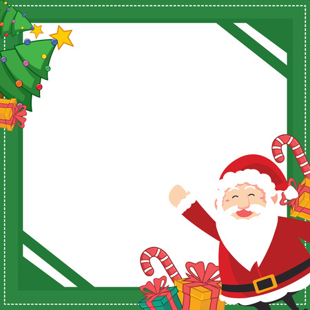 Christmas frame with gift design with santa claus