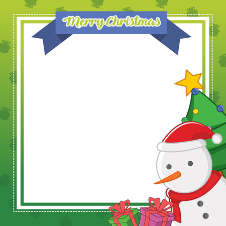Christmas frame cute design collection vector illustration with snowman Illustration