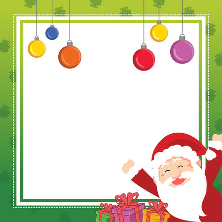 Christmas frame cute design collection vector illustration with santa claus