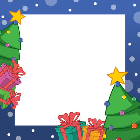 Collection Christmas Frame Design Art Vector Illustration with tree and gifts Ilustração