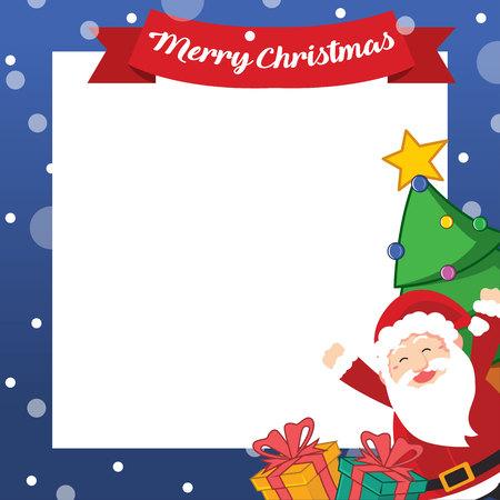 Collection Christmas Frame Design Art Vector Illustration with santa claus Ilustração