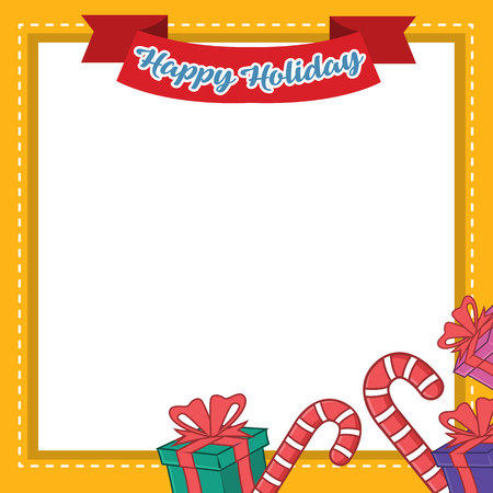 Frame Of Christmas Style Collection Vector Illustration cane and gifts