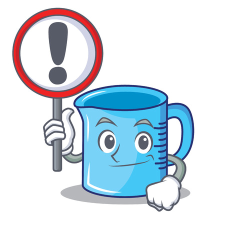 With sign measuring cup character cartoon vector illustartion Illustration
