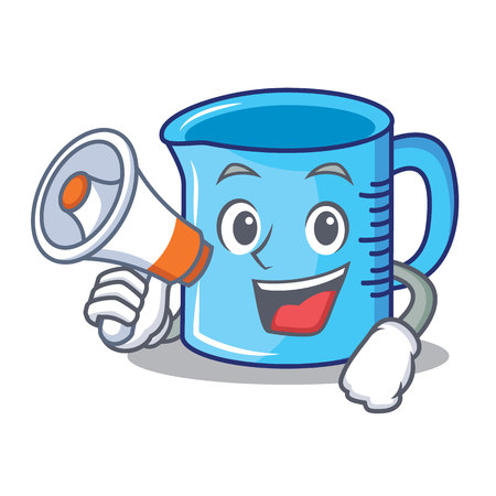 With megaphone measuring cup character cartoon vector illustartion