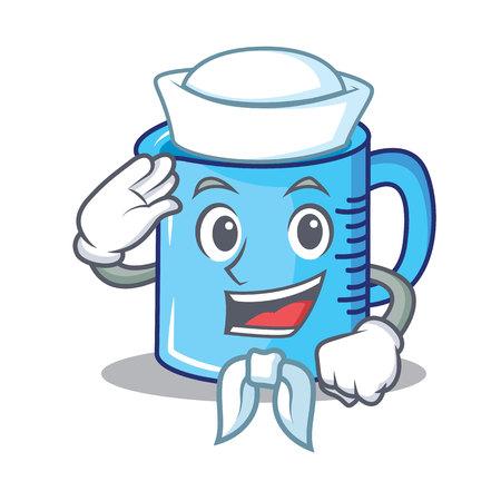 Sailor measuring cup character cartoon vector illustartion