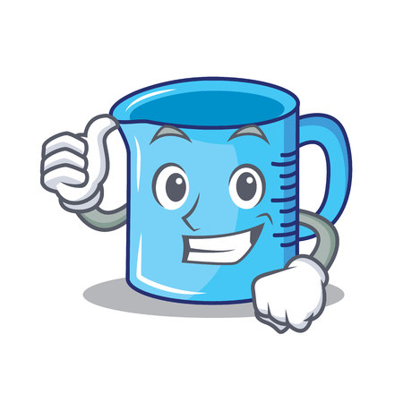 Thumbs up measuring cup character cartoon vector illustartion