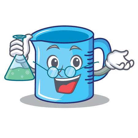 Professor measuring cup character cartoon vector illustartion