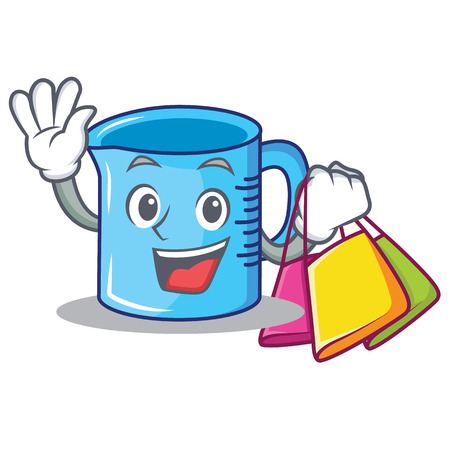 Shopping measuring cup cartoon character illustration.