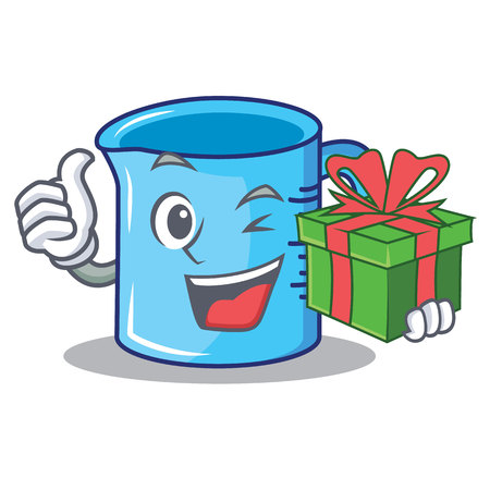 With gift measuring cup character cartoon vector illustration.