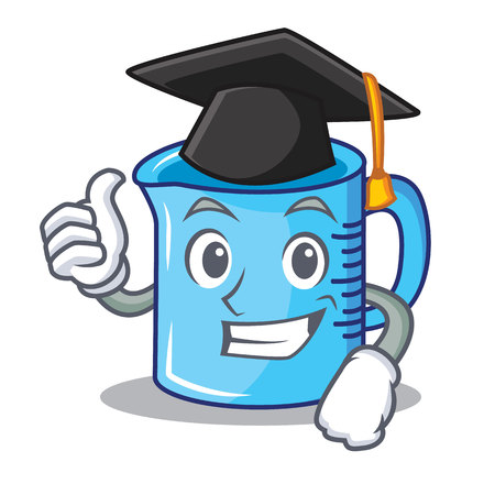 Graduation measuring cup character cartoon vector illustration.