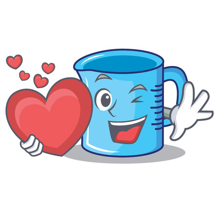 With heart measuring cup character cartoon vector illustartion