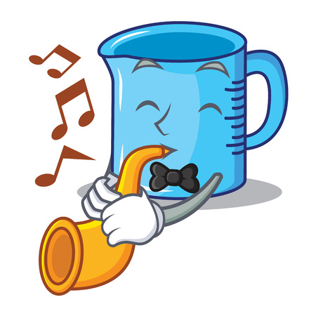 With trumpet measuring cup character cartoon vector illustartion
