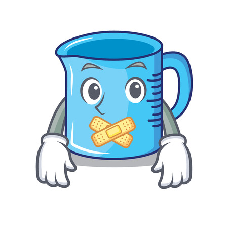 Silent measuring cup cartoon character illustration.