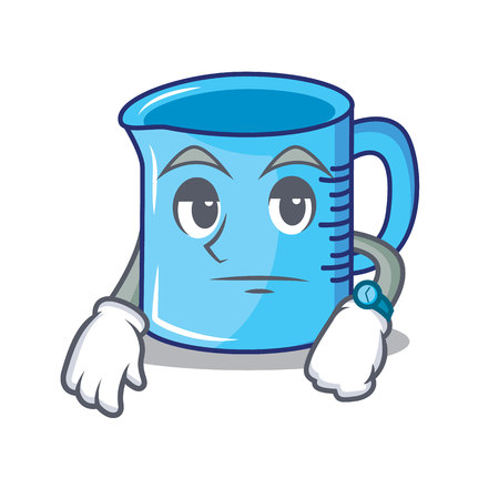 Waiting measuring cup character cartoon  illustration.