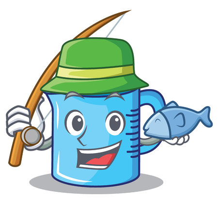 Fishing measuring cup character cartoon illustration.