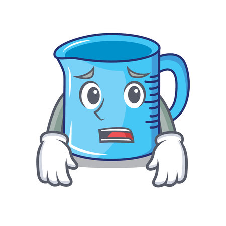 Afraid measuring cup character cartoon illustration. Illustration